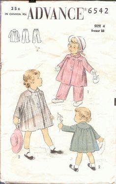 Vintage Patterns 1950's Girls Coat Pants Advance by TenderLane