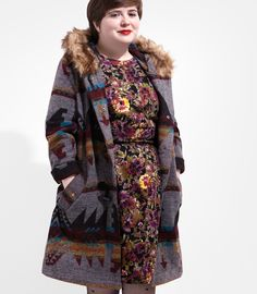 Bacall Ava Coyote Fur Trim Coat - Plus Size