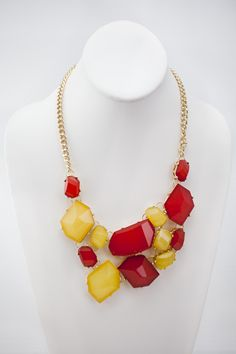 Dressing Your Truth - Type 3 Treasure Trove Necklace     You could search the world over, but nothing compares to the richness and substance of this Type 3 treasure necklace.        18 inch, adjustable      Trigger Clasp      Red and Yellow