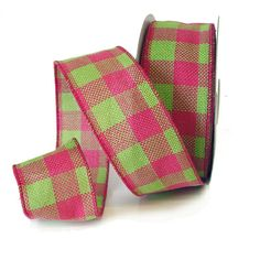 2.5 Faux Burlap Wired Ribbon Dark Pink Spring Green Check $10.99