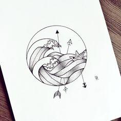 Dotdotdot #illustration #illustrator #design #sketch #drawing #draw #ink #pen #tattoo #dotwork #linework #blackwork #blackworkers #art #artwork #artist #artistic #instaart #wave #arrow #boat #origami #anchor #minimal #blackandwhite #tattoodesign #geometry #circle #evasvartur #instafollow