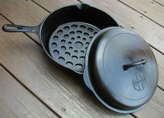 Antique Griswold 777 Cast Iron Chicken Pan Skillet with Lid and Trivet - It makes me marvel why more are not using cast iron pots and pans? It is fantastic to use.  http://accordingtobrian.com/castiron