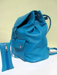 Leather backpack for women Turquoise 7a4a4a1403763