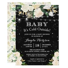 Baby It's Cold Outside Floral Winter Bridal Shower Card - bridal shower gifts ideas wedding bride