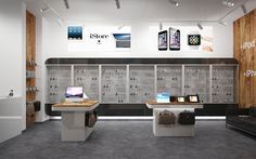 Window dressing in the store of Apple products.