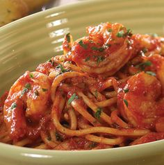 Pair a flavorful spaghetti sauce with shrimp and pasta and you've got yourself a fast and delicious meal. Serve with spiralized veggies instead of pasta, if you'd like.