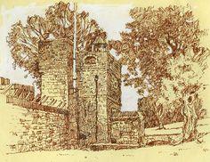 Upnor castle, medway, kent, pen drawing Rob Adams, Vintage World Maps, Castle, Sketches, Ink, Illustrations, Drawings, Blog, Sketch
