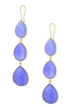 Blue Onyx Triple Pear Drop Earrings