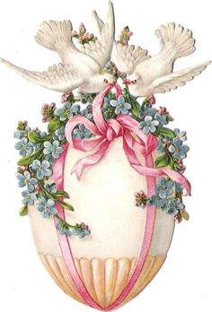 Free freebie printable vintage printable embossed chromolithograph scrap of easter egg with white doves and flowers. LOTS MORE FREE SCRAPS HERE!Oblaten Glanzbild scrap die cut chromo Oster ei  12cm  easter egg Taube dove: