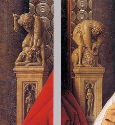 JAN VAN EYCK (1395 -1441) -  The Madonna with Canon van der Paele, details - 1436. Groeningemuseum, Bruges, Belgium.
