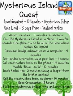 A list of tasks required to complete the Mysterious Island Quest in Sims Freeplay