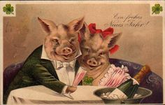 Happy New Year Vintage Prints, Retro Vintage, Pig Illustration, Illustrations, Family Wishes, New Year Postcard, New Year Images, Wine Art, New Year Card