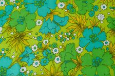 1960's MOD Cotton Green Floral Fabric by fallaloft on Etsy, $9.00
