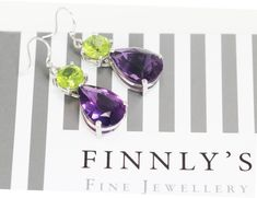 Colours of spring! facetted purple amethyst and peridot dangle earrings Purple Amethyst, Peridot, Dangle Earrings, Dangles, Colours, Gemstones, Spring, Life