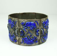 Antique Chinese Export Foo Dog Cobalt Blue Enamel Silver Bracelet.
