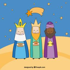 Tres Reyes Magos por la noche Vector Gratis