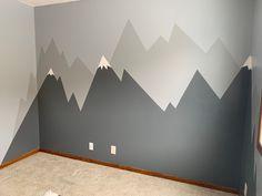 Mountain Bedroom, Mountain Mural, Mountain Nursery, Boys Bedroom Decor, Bedroom Themes, Baby Room Decor, Nursery Room, Kids Room Paint, Baby Boy Rooms
