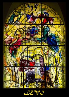 Stained glass window by Marc Chagall Marc Chagall, Artist Chagall, Chagall Paintings, Stained Glass Art, Stained Glass Windows, Folklore Russe, Chagall Windows, Arte Judaica, Fauvism