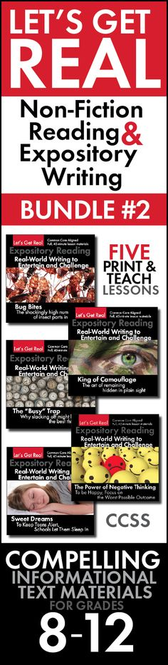 Save 25% on five days of high-quality informational text lessons. Just print-and-teach! For grades 8-12.