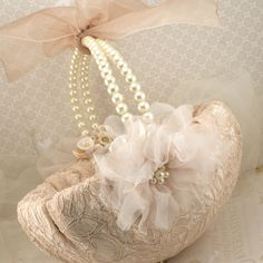 Flower Girl Basket Bridal Basket in Champagne and Ivory with Pearls and Lace Vintage Inspired. $130.00, via Etsy.