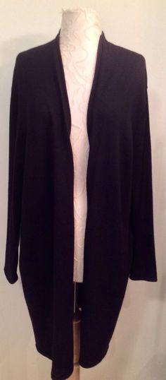 EILEEN FISHER size 2x black open long cardigan sweater Italian wool #EileenFisher #Cardigan