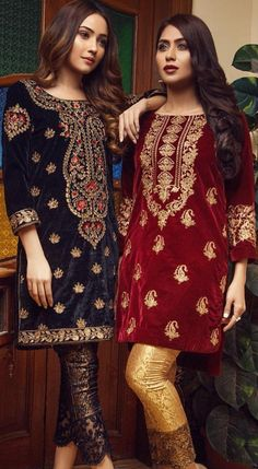 Indian outfit is cute Velvet Pakistani Dress, Pakistani Party Wear Dresses, Shadi Dresses, Pakistani Outfits, Indian Dresses, Pakistani Dress Design, Stylish Dresses, Casual Dresses, Velvet Dress Designs