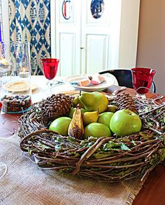 Grapevine wreath for a centerpiece