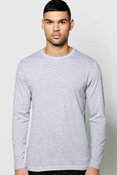 #FashionVault #boohoo #Men #Tops - Check this : boohoo Slim Fit Crew Neck Long Sleeve TShirt - grey for $ USD
