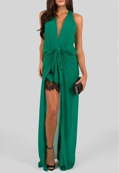 Vestido longo de seda verde com fenda Animale - powerlook-V-MOB