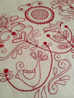 Beautifully neat redwork stitching from Rosalie Quinlan Designs