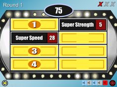 Screenshot of a Family Feud PowerPoint template with yellow boxes and a blue background