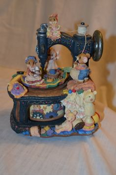 """Vintage Mice with Sewing Machine Music Box Plays """"We've Only Just Begun"""" by DJsVintageCache on Etsy"""