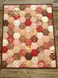 Half hexie quilt wall hanging
