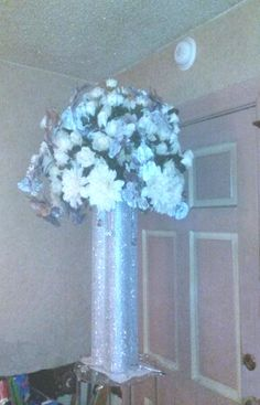 While Arlene Franklin created the bling base - I created the arrangement for the headtable.  |  West Mt. Horeb Missionary Baptist Church - Dallas, Texas - [Precious Promises Christian Weddings & Beyond by Itheria]
