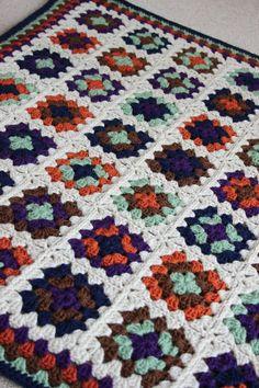 Autumnal crochet granny blanket by ZeensandRoger on Etsy