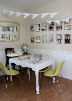 Inspiration board with clipboard wall