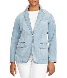 Lauren Ralph Lauren Plus SingleButton Denim Blazer #Dillards-$185.00
