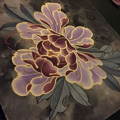 White and golden On black paper , drawing at Tattoo Experience @japaneseink #peony #peonie #peonies #flower #flowersdrawing #japanstyle…