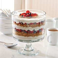 Skip the snooze button and create a simple and stunning breakfast parfait with the Trifle Bowl.
