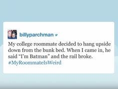 Jimmy Fallon Reads The Funniest #MyRoomateIsWeird Tweets