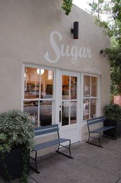 Sugar Bakeshop | Charleston #shop #window #bench #white #paint