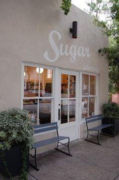 Sugar Bakeshop | Charleston #shop #window #bench #white #paint