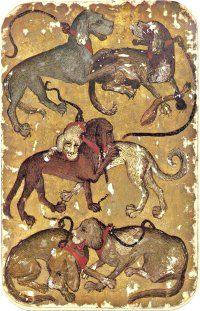 Stuttgart Playing Cards - 6 of Hounds, Medieval World, Medieval Art, Renaissance Art, Medieval Games, Map Projects, Medieval Manuscript, Dog Art, Paper Dolls, Vintage Art