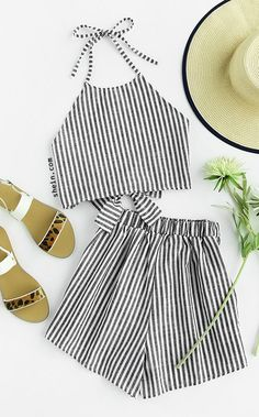Striped Bow Open Back And Shorts Set #diy_ropa_fashion