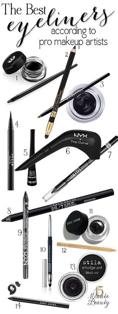The Best Eyeliner formulas according to professional makeup artists. i personally am not a fan of the rimmel scandal eyes and nyx pencil liner. Eye Makeup, Makeup Dupes, Makeup Brushes, Makeup Geek, Contouring Makeup, Makeup Stuff, Maybelline, Rimmel, All Things Beauty
