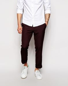 $33, Burgundy Chinos: Asos Brand Slim Fit Smart Pants. Sold by Asos. Click for more info: https://lookastic.com/men/shop_items/296735/redirect