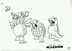 Settei/model sheet of Ghidorah, Gamera, Godzilla from Akira Toriyama's Arale-Chan / Dr.Slump Toei Animation, 1980s