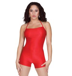 This sleek Halter Shorty Unitard - Style #N7004 at Discount Dance Supply makes for a clean cut look with durable fabric with a lot of elasticity. Perfect as a base item or just by itself. Work the stage without working your budget at a great price of $21.95  #leotard #Red #dance #performance