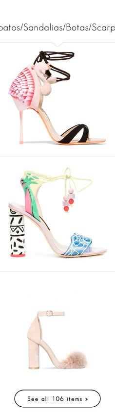 """Sapatos/Sandalias/Botas/Scarpin"" by gabriel-sampaiooo on Polyvore featuring shoes, sandals, heels, high heels, sophia webster, pink, ankle strap shoes, strap sandals, ankle strap high heel sandals e high heel shoes"