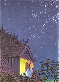 "illustration from ""a child's garden of verses"" by robert louis stevenson, art by gyo fujikawa We read from this collection of children's poems every night to issac at bedtime Art And Illustration, Book Illustrations, Nocturne, Stargazing, Belle Photo, Night Skies, Illustrators, Book Art, Fairy Tales"